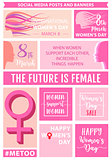 Women's day social media posts, vector set