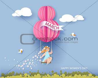 Card for 8 March womens day. Woman on teeterboard