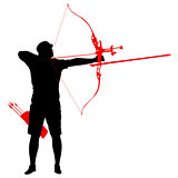 Silhouette attractive male archer bending a bow and aiming in the target