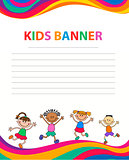 happy children run on the banner vector template colorful backround