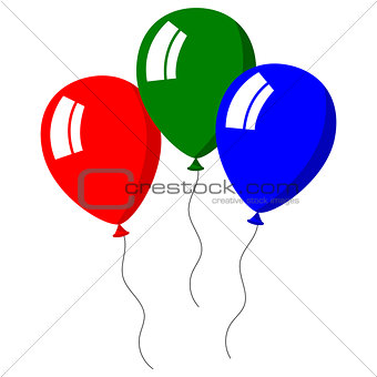 Three balloons bright colors on white background