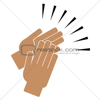 Clapping hands on a white background
