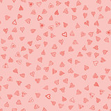 chaotic vector doodle hearts seamless pattern - for Valentine's day
