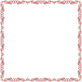 Greeting card with red swirl frame