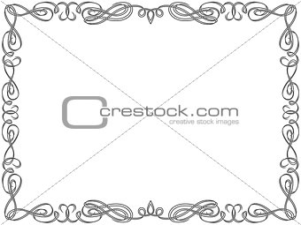 Greeting card with swirl frame