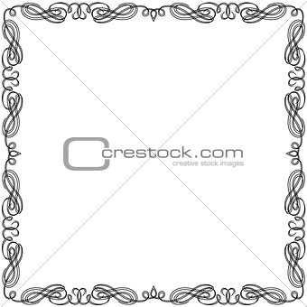 Greeting card with swirl black frame