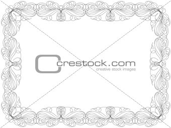 Greeting card with swirl floral frame