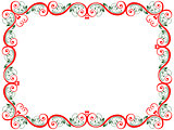 Red and green floral Valentine frame