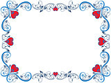 Red and blue floral Valentine frame