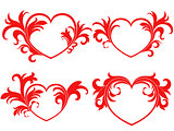 Set of four red Valentine hearts