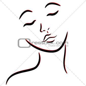 Abstract female face with closed eyes