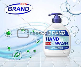 Antibacterial hand gel wash ads, dispenser bottle with transparent bubbles isolated on background. 3d realistic antiseptic banner. vector illustration