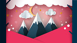 Paper mountain - cartoon landscape. Cloud, moon, mountain, tree.