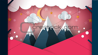 Paper mountain - cartoon landscape. Cloud, moon, mountain, tree.