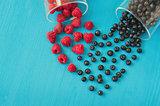 Heart shape of fresh raspberries and blueberries