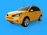 Compact city crossover yellow color on a blue background. Left front view. 3d rendering.