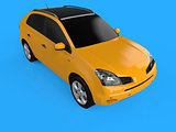 Compact city crossover yellow color on a blue background. The view is on the right front and slightly above. 3d rendering.