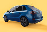 Compact city crossover blue color on a yellow background. Left rear view. 3d rendering.