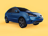 Compact city crossover blue color on a yellow background. Right front view. 3d rendering.