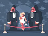 Lady famous star with bodyguards
