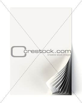 White document mock up with monochrome curled corner