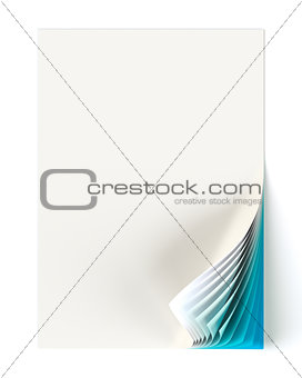 Blank document mock up with teal blue curled corner