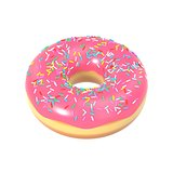 Delicious donut with pink icing and sprinkles