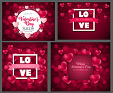 Valentine's Day Heart  Love and Feelings Background Design Collection Set Cards. Vector illustration