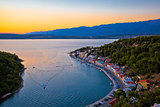 Novigrad Dalmatinski bay panoramic aerial view at sunset