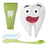Healthy cute cartoon tooth character with Toothpaste and toothbrush