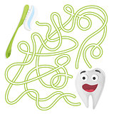 Cartoon Education Maze or Labyrinth Game for Children with Cute Tooth and Brush