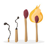A set of cartoon matches. Burned match. Burning match