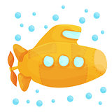 Yellow Submarine Underwater on White Background. Cartoon Design Style