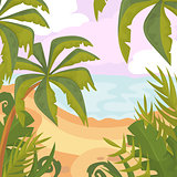 Summertime on the beach. Palms and plants. Cartoon vector. Summer vacation