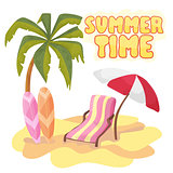 Summer time background banner design template and season elements beach