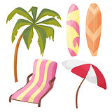 Beach Icon Set - cartoon equipment - lounger, palm tree, board, umbrella