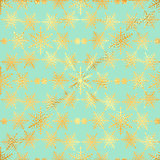 Gold Star and Gold Snowflake Seamless Pattern. seamless pattern with gold confetti stars and snowflake. Vector illustration. Shiny background. Luxury seamless pattern with gold snowflakes and stars