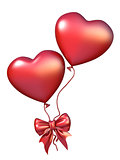 Two red heart shaped balloons with ribbon bow 3D