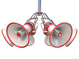 Red and white megaphones hanging 3D