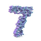 Purple blue font made of tubes NUMBER SEVEN 7 3D