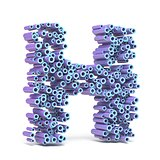Purple blue font made of tubes LETTER H 3D