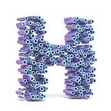Purple blue font made of tubes LETTER H 3D