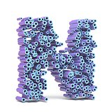 Purple blue font made of tubes LETTER N 3D