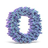 Purple blue font made of tubes LETTER O 3D