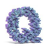 Purple blue font made of tubes LETTER Q 3D