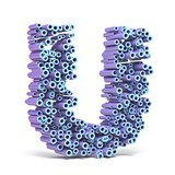 Purple blue font made of tubes LETTER U 3D