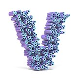 Purple blue font made of tubes LETTER V 3D