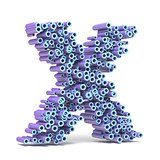 Purple blue font made of tubes LETTER X 3D