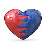 Broken heart, two pieces, red and blue one. 3D