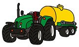 The tractor with a tank trailer